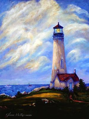 New England Lighthouse Painting - Yaquina Head Lighthouse Oregon by Glenna McRae