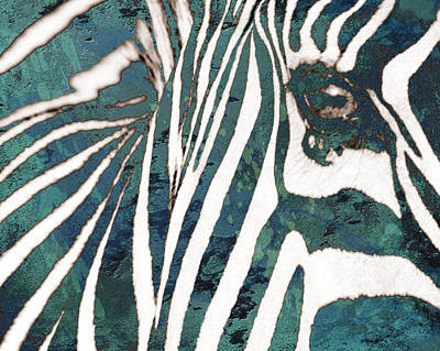 Stylized Mixed Media - Zebra Art Stylised Drawing Art Poster by Kim Wang