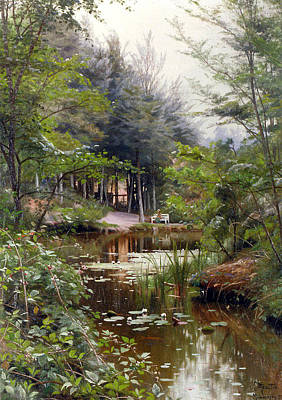 Seas Painting - Lady Reading By A Lake by Peder Mork Monsted