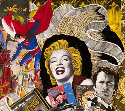 Marilyn Monroe And James Dean Painting -  Marilyn Monroe Clint Eastwood Superman by Jonell Restivo