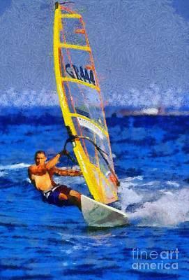 Windsurfing Print by George Atsametakis