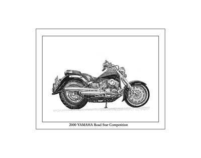 Dirt Roads Drawing - 2000 Yamaha Road Star Compeition by Jack Pumphrey