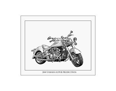 Dirt Roads Drawing - 2000 Yamaha Super Production by Jack Pumphrey