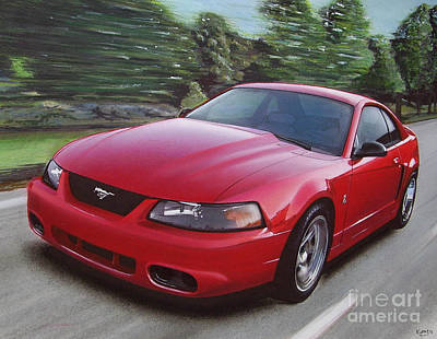 Cobra Drawing - 2001 Ford Mustang Cobra by Paul Kuras