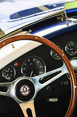 2001 Shelby Cobra Replica Steering Wheel Emblem Print by Jill Reger