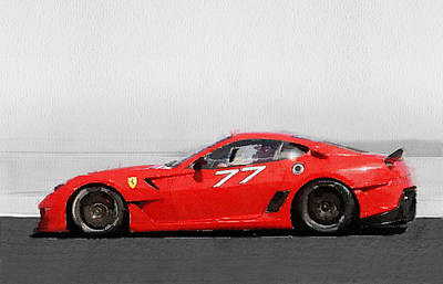 Old Car Painting - 2006 Ferrari 599 Gtb Fiorano Watercolor by Naxart Studio