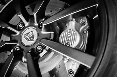2006 Photograph - 2006 Lotus Wheel Emblem -0036bw by Jill Reger