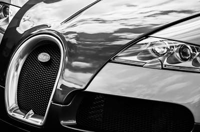 Car Photograph - 2008 Bugatti Veyron Grille Emblem -0621bw by Jill Reger