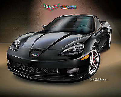 Muscle Car Drawings Painting - 2008 Corvette Zr-1 by Danny Whitfield
