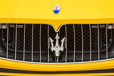 2010 Photograph - 2010 Maserati Grille Emblem -0550c by Jill Reger