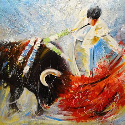 Spanish Matador Painting - 2010 Toro Acrylics 02 by Miki De Goodaboom