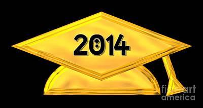 Tassel Digital Art - 2014 Golden Graduation Cap by Rose Santuci-Sofranko