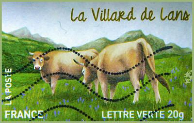 Background Painting - 2014 La Villard De Lans Stamp by Lanjee Chee