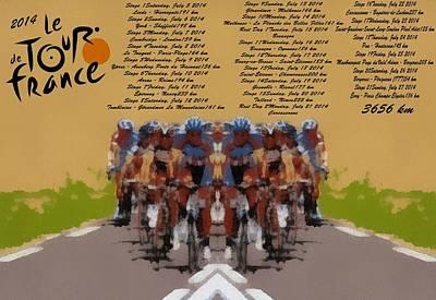 Helmet Mixed Media - 2014 Tour De France by Dan Sproul
