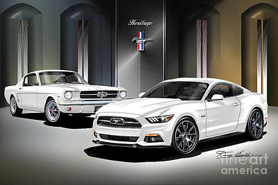 Mustang Drawing - 2015 Mustang American Heritage by Danny Whitfield