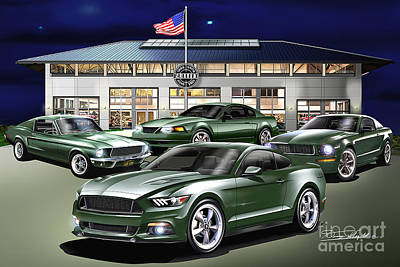 Mustang Drawing - 2015 Mustang Bullitt We Are Family by Danny Whitfield