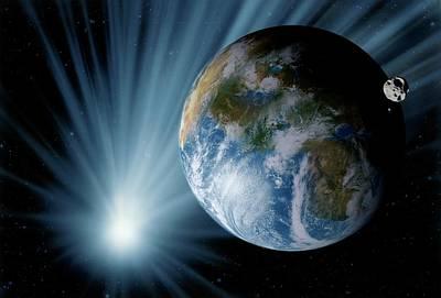 Asteroid Approaching Earth Print by Detlev Van Ravenswaay