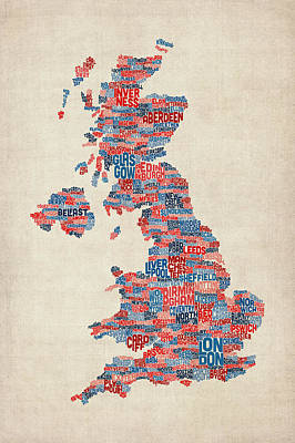 Scotland Digital Art - Great Britain Uk City Text Map by Michael Tompsett