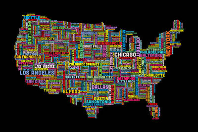 Geography Digital Art - United States Typography Text Map by Michael Tompsett