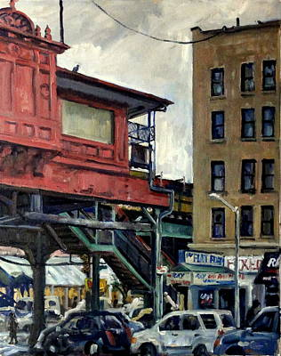 Urban Subway Painting - 215th Street Subway Station Under The El by Thor Wickstrom