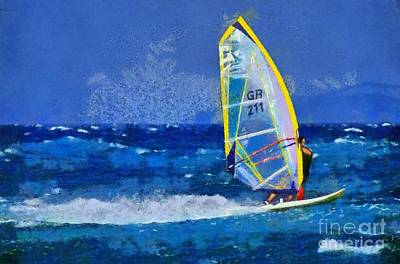 Wind Surfing Painting - Windsurfing by George Atsametakis