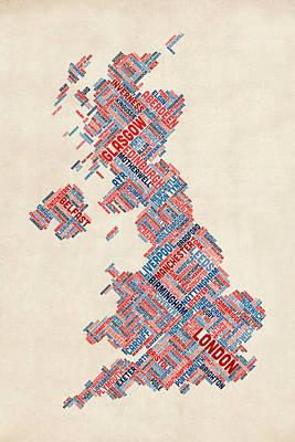 Word Map Digital Art - Great Britain Uk City Text Map by Michael Tompsett