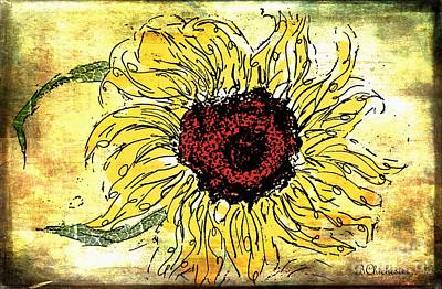 Las Cruces Painting - 24 Kt Sunflower - Barbara Chichester by Barbara Chichester