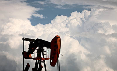 Oil Drill Rig Photograph - Prairie Storm Clouds by Mark Duffy