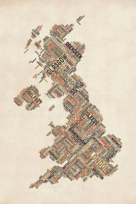 United Kingdom Map Digital Art - Great Britain Uk City Text Map by Michael Tompsett