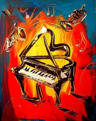 Old Man Fishing Painting - Piano by Mark Kazav