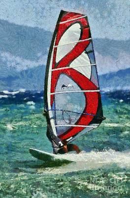 Action Painting - Windsurfing by George Atsametakis