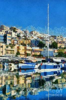 Mirror Painting - Reflections In Mikrolimano Port by George Atsametakis