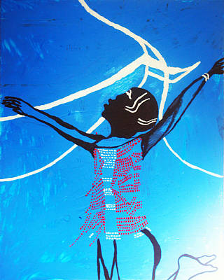 Gloria Mixed Media - Dinka Dance - South Sudan by Gloria Ssali