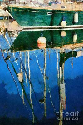 Greece Painting - Reflections In Mikrolimano Port by George Atsametakis