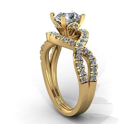 18k Jewelry - 14k Yellow Gold Diamond Ring With Moissanite Center Stone by Eternity Collection