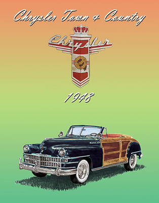 Convertible Painting - 1948 Chrysler Town And Country by Jack Pumphrey