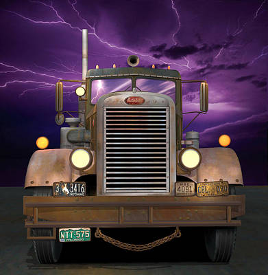 Old Trucks Digital Art - 1955 Peterbilt by Stuart Swartz