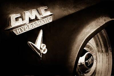 1957 Gmc V8 Pickup Truck Gmc Hydra-matic Emblem Print by Jill Reger
