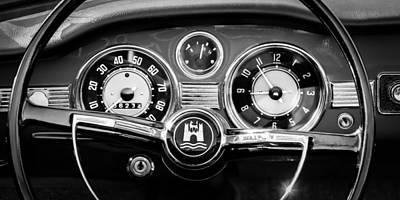 1966 Volkswagen Vw Karmann Ghia Steering Wheel Print by Jill Reger