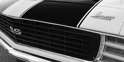 American Muscle Car Print featuring the photograph 1969 Chevrolet Camaro Rs-ss Indy Pace Car Replica Grille - Hood Emblems by Jill Reger