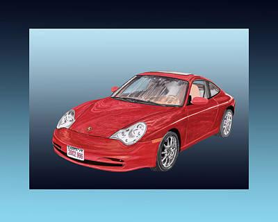 Framed Art Digital Art - 2002 Porsche 996 by Jack Pumphrey