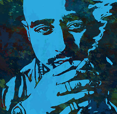 Tupac Drawing - 2pac Tupac Shakur Stylised Pop Art Poster by Kim Wang