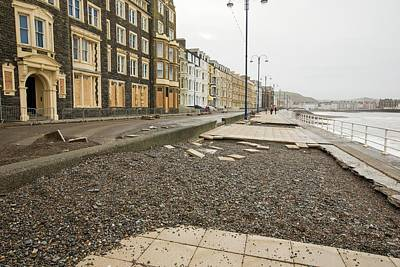 High Street Photograph - Aberystwyth Storm Damage by Ashley Cooper