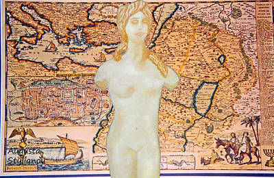 Old Map Digital Art - Ancient Middle East Map And Aphrodite by Augusta Stylianou