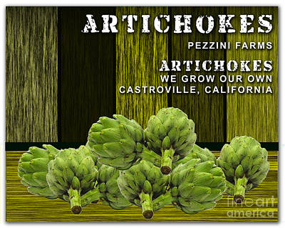 Artichoke Mixed Media - Artichokes Farm by Marvin Blaine