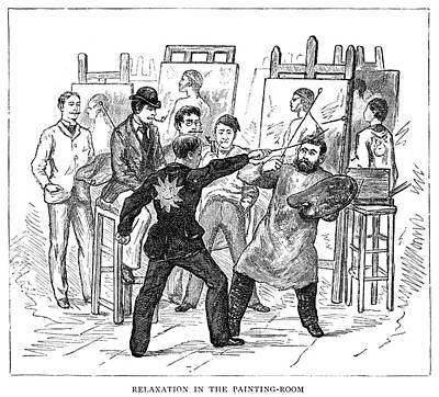 Fencing Painting - Atelier, 1884 by Granger