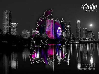 Austin Skyline Mixed Media - Austin Map And Skyline Watercolor by Marvin Blaine