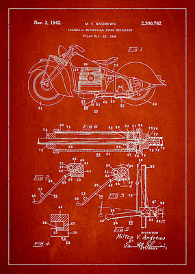 Harley Davidson Digital Art - Automatic Motorcycle Stand Retractor Patent Drawing From 1940 by Aged Pixel