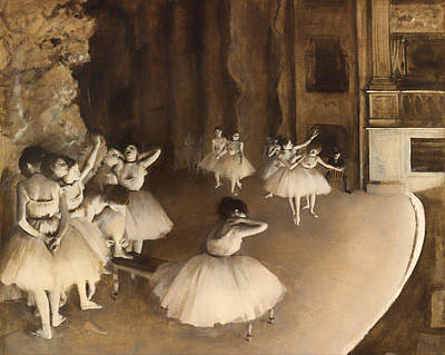 Rehearsal Painting - Ballet Rehearsal On Stage by Mountain Dreams