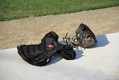 Baseball Glove And Chest Protector Print by Frank Romeo